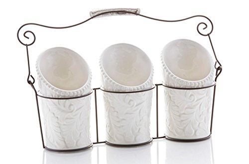 Kitchen Utensil Holders 4 Pieces - 3 Ceramic Utensil Crocks 4 Dia x 7 H each 1 Metal Caddy - White Embossed Design