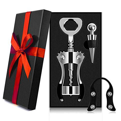 AUNOOL Corkscrew Wine Opener - Heavier Wing Corkscrew Wine Bottle Opener Bottle Stopper and Foil Cutter Premium Corkscrew with Zinc Alloy