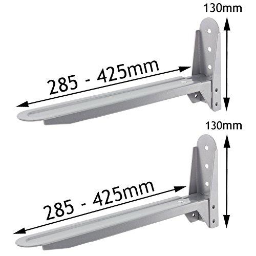 Spares2go Silver Adjustable Extendable Holder Brackets For Samsung Microwave Ovens