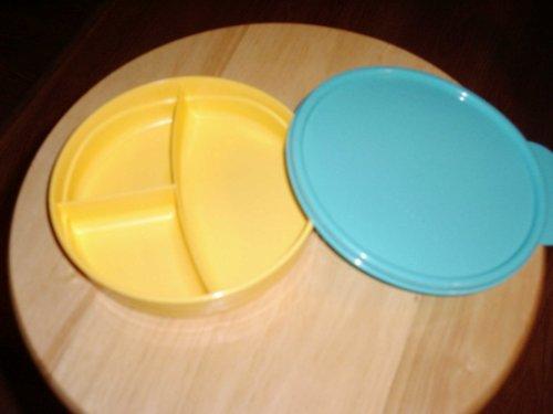 Tupperware Microwave Kids Lucnheon Plate Yellow Wteal Green Seal