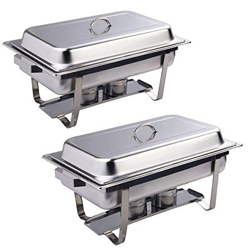2 Pack of 9 Quart Rectangular Chafing Dish Stainless Steel Full Size Ne