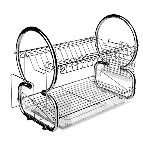 Flagup 2 Tier Stainless Steel Dish Rack Cup Drying Rack Drainer Dryer Tray Holder Organizer for Home Kitchen