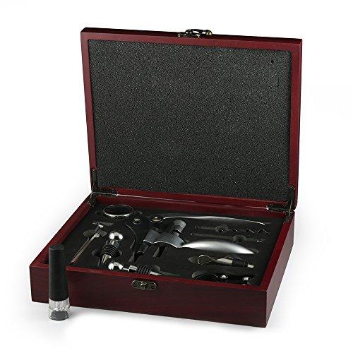 Tenyear 9-Piece Stainless Steel Wine Opener Kit Bottle Opener Gift Set BeerWine Accessories Set Wood Case