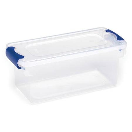 Set of 5 75-Qt Easy-Grip Blue Latch Handles Small Clear Plastic Storage Containers Clear