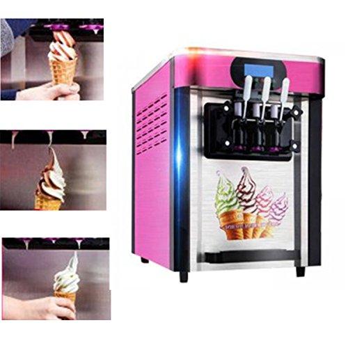 Automatic Soft IceCream Making Machine with 3 Flavors Desktop Commercial Ice Maker Machine Electric Dum Ice Cream Cone Smoothies Slushy Machine without Refrigerant Pink 110v US-Plug