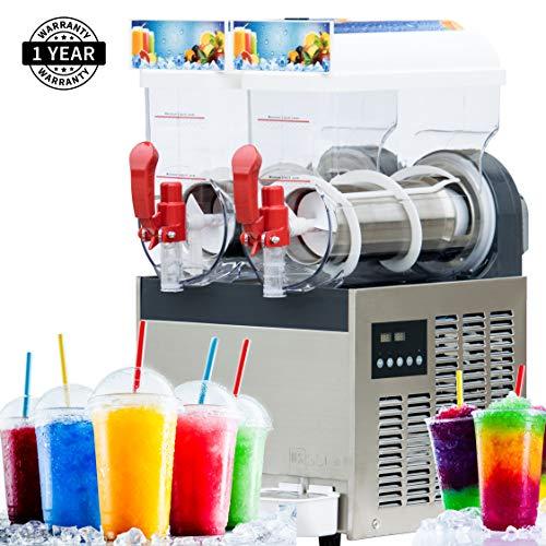 Slushie Machine- Slush Machine with Two 15L Tanks 110V Fine Ice Slushy Machine and Frozen Drink Machine with New Digital Controls a US Solid Product
