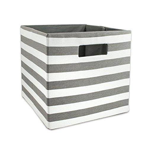 Dii Foldable Fabric Square Storage Bin 11x11x11-inches Gray Stripe