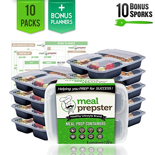 Meal Prepster 3 Compartment Meal Prepping Containers 10 Pack 32 oz - Reusable Airtight Plastic Food Storage Lunch Bento Box Containers w Lids - BPA-Free Incl 10 Sporks  Printable Planners