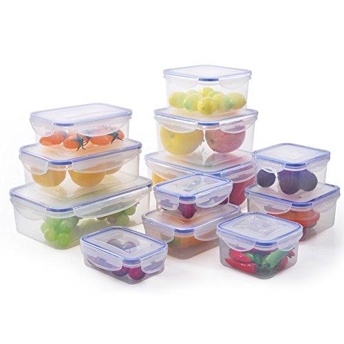 ElaineStore Plastic Airtight Food Container Set of 12