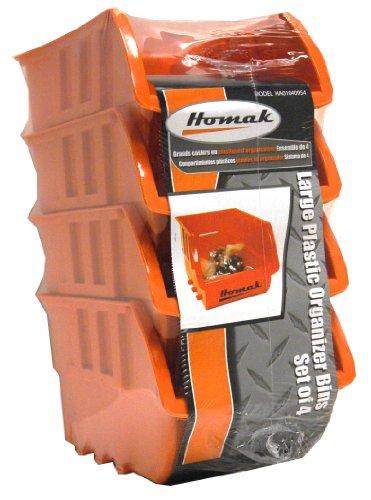 Homak HA01040954 Large Plastic Bins Set of 4