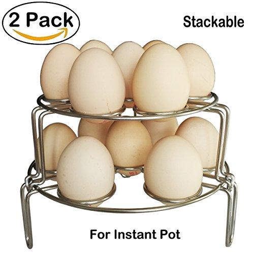 2 Pack stainless steel Egg Steamer Rack Multipurpose Vegetable Stackable Steamer Rack Trivet stand for Instant Pot Accessories and Pressure Cooker Silver Color