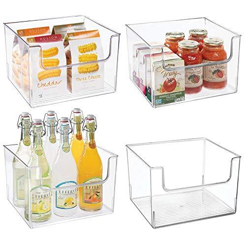 mDesign Plastic Open Front Food Storage Bin for Kitchen Cabinet Pantry Shelf FridgeFreezer - Organizer for Fruit Potatoes Onions Drinks Snacks Pasta - 12 Wide 4 Pack - Clear
