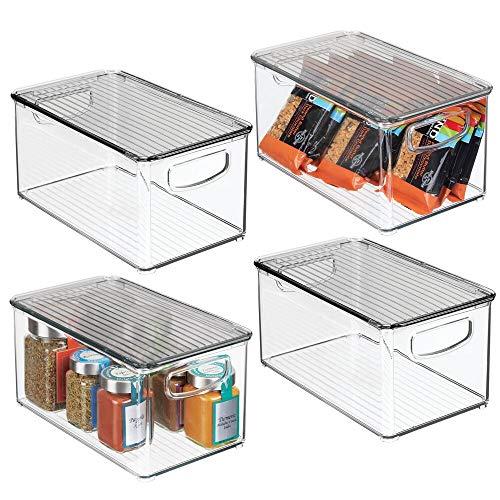 mDesign Plastic Stackable Kitchen Pantry Cabinet Refrigerator Freezer Food Storage Bin Box with Handles Lid - Organizer for Fruit Yogurt Snacks Pasta - 10 Long 4 Pack - ClearSmoke Gray