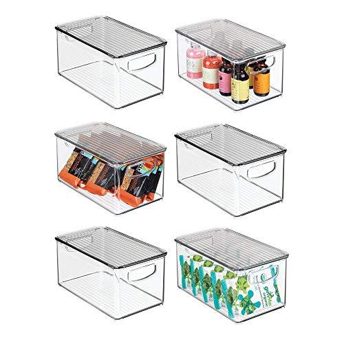 mDesign Plastic Stackable Kitchen Pantry Cabinet Refrigerator Freezer Food Storage Bin Box with Handles Lid - Organizer for Fruit Yogurt Snacks Pasta - 10 Long 6 Pack - ClearSmoke Gray
