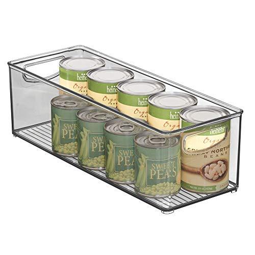 mDesign Plastic Stackable Kitchen Pantry Cabinet Refrigerator or Freezer Food Storage Bin with Handles - Organizer for Fruit Yogurt Snacks Pasta - BPA Free 16 Long - Smoke Gray