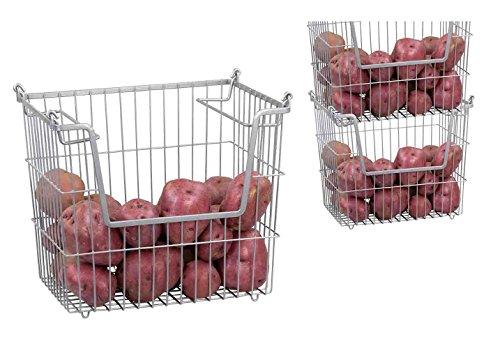 Home Basics Stackable Metal Pantry Organizer Basket - Space Saving Home and Kitchen Storage Bin Solution 2