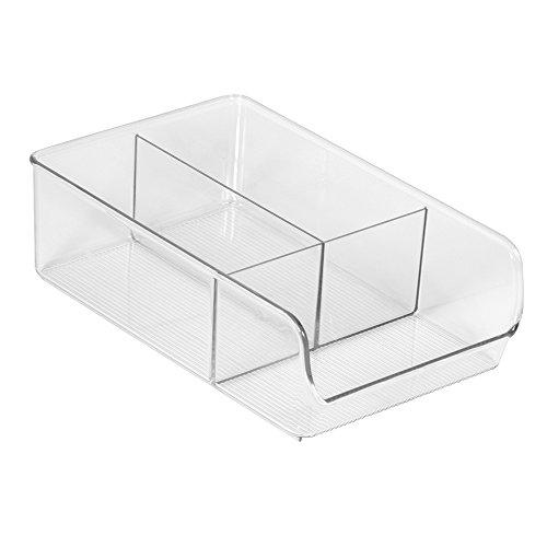 InterDesign Linus Divided Refrigerator Freezer Pantry Storage Organizer Bins for Kitchen Clear