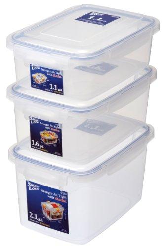Lustroware LSX216 Smart Locks Jumbo Keeper Stackable B-289428952896AA 3-Piece 111621-Gallon Food Container Set Large White