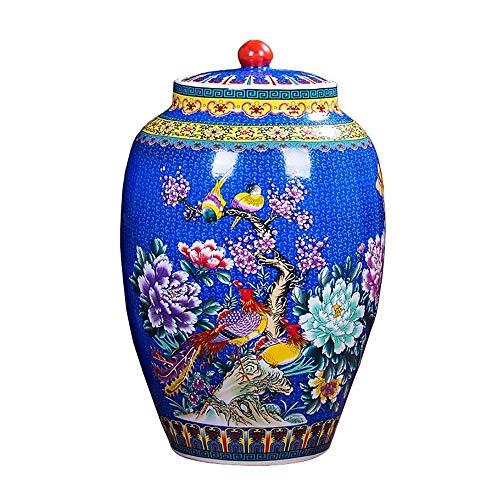 Chuwuguan Ceramic Fresh-keeping Storage Tank Moisture-proof Waterproof Food Storage Bucket Painted Handmade Size  56cm