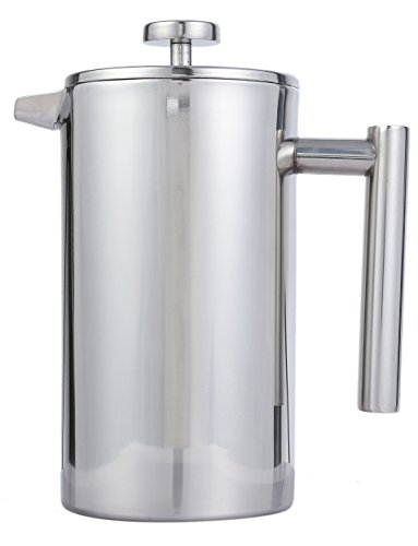 French Press Coffee Pot Tea Maker Set Cafetière- Stainless Steel - Double Wall Insulation - 1-Liter 34-Ounce