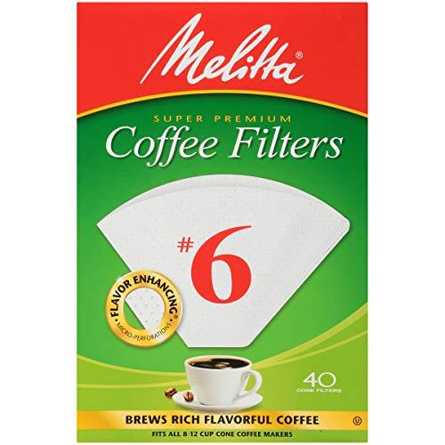 Melitta 6 Super Premium Cone Coffee Filters White 40 Count Pack of 12