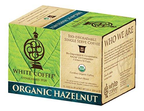 White Coffee Organic Single Serve Coffee Hazelnut 10 Count