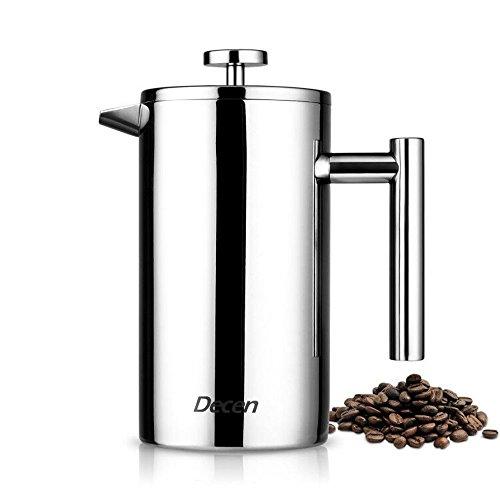 Decen Double Wall Stainless Steel French Press Coffee Tea Maker 8 Cups Coffee Press Pot 1 Liter