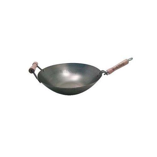 14 Inch Carbon Steel Wok w Helper Handle Flat Bottom
