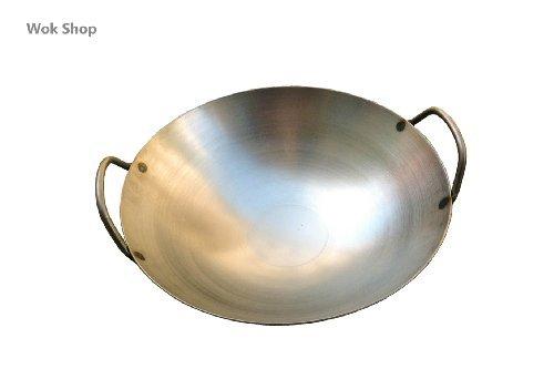 Carbon Steel Round Bottom Wok w 2 Loop Handles USA Made 18 inch