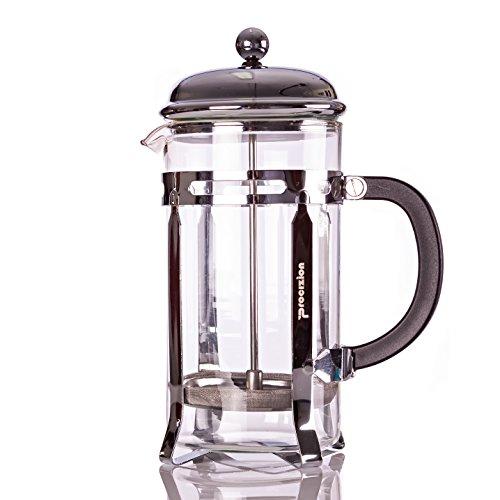 French Press 20 Oz Pot Coffee Espresso and Tea Maker Chrome Includes 6 Filters by Procizion