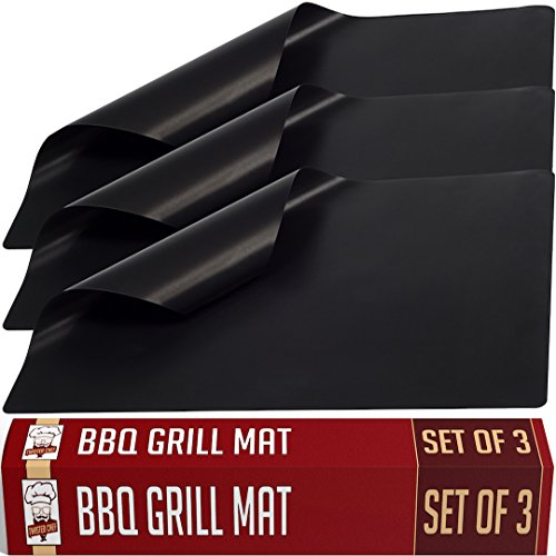 Twisted Chef BBQ Grill Mat – Set of 3 Non Stick Grill Mats – Essential Grilling Accessories and BBQ Tools