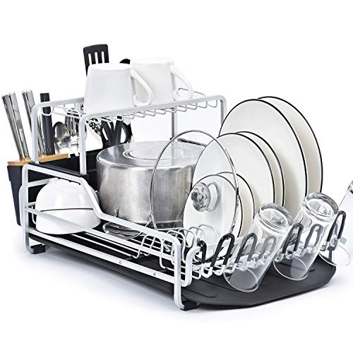 KINGRACK Dish Rack 2-Tier XXL Aluminum Dish Drying Rack with Drain board Customizable Dish Holder Set with Removable Top Shelf Cutlery Holder Cup Holder Large Capacity Dish Rack for Kitchen