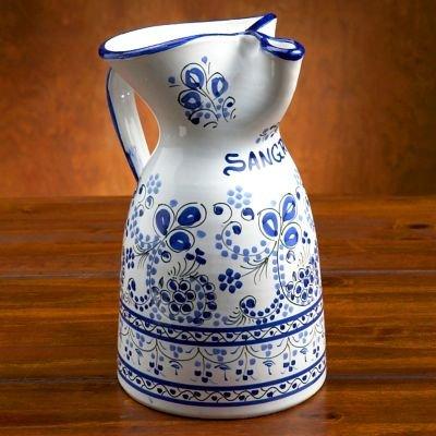 El Puente del Arzobispo Blue Flor Ceramic Sangria Pitcher 12 gallon capacity