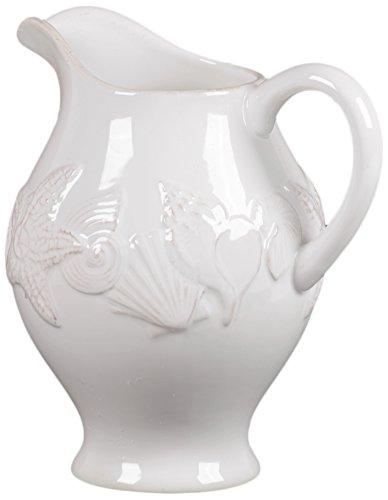 Benzara Ceramic Pitcher Embellished with Beautiful Seashell Motifs White