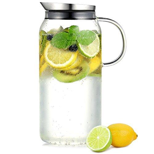 Ecooe Borosilicate Glass Water Pitcher with Lid Handle 44 oz