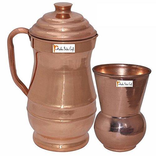 Prisha India Craft Ã' Pure Copper Jug Water Pitcher with Lid Indian Copper Utensils Capacity 19 L by Prisha India Craft