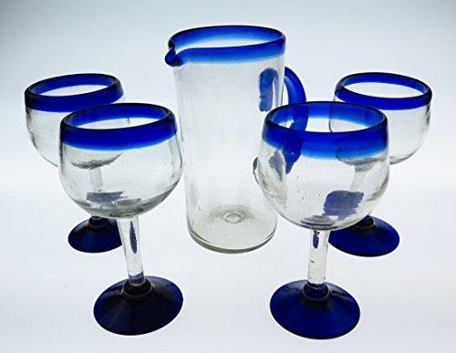 Mexican Glasses Wine Pitcher Set Blue Rim Hand Blown 14 oz Set of 4