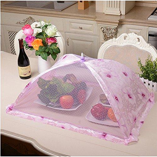 Great Top Collapsible Food Cover Pop Up Mesh Screen Tent Reusable Indoor Outdoor Umbrella Netting Rectangle Purple