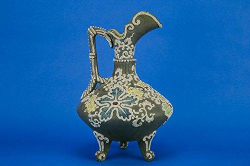 Ceramic Antique JUG Floral Lemonade Pitcher Arts Crafts Decorative Large Green German Early 1900s LS