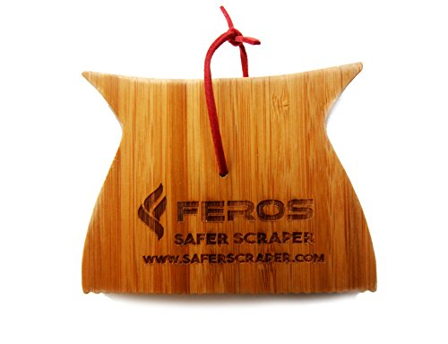 FEROS Safer Scraper Mini - Wood BBQ Wooden Grill Cleaner - Small Version - Cleans top AND BETWEEN barbecue grates Use to oil clean barbeque Sustainable replacement for wire bristle brush
