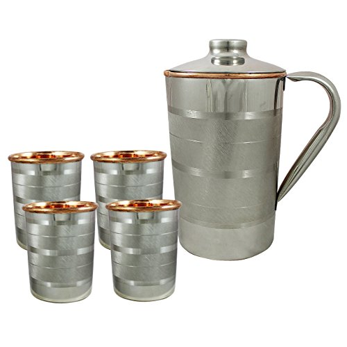 RoyaltyLane Set Of 4 Water Glasses And A Jug Set Indian Copper Pitcher Drinkware Set Outside Steel Capacity 2 Liters 4 IN Brown