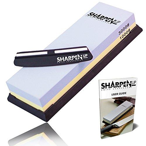 Sharpen Up - Knife Sharpening Stone kit With Black silica non-slip Base - Free Sharpening Stabilizer Knife Angle Guide - Premium Two Sided 1000 3000 Corundum Global Whetstone - Best sharpener