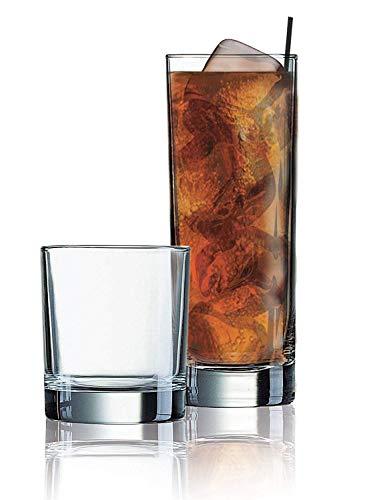 Elegant Drinking Glasses Set of 16 Heavy Base Durable Glass Cups - 8 Cooler Glasses 16oz and 8 DOF Glasses 10oz 16-piece Glassware Set