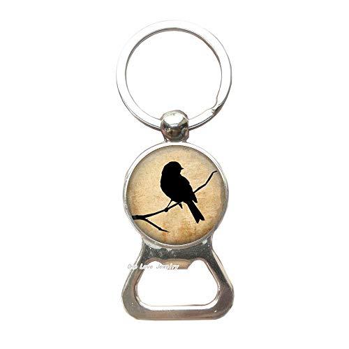 Parchment Bird Key RingBottle Opener KeychainBird Key RingArt JewelryResin CharmBird Bottle Opener KeychainGift For Bird LoverTAP358