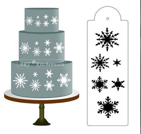 Bakeware Accessories - Snowflake Stencil Stencils Heart Cosmos Snowflakes - Snowflake Side Cake Stencil Border Designer Decorating Craft Cookie Baking Tool - Snowflake Cookie Stencil - 1PCs