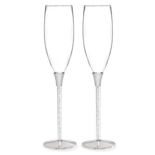 Hortense B. Hewitt Wedding Accessories Glittering Beads Champagne Flutes, Set Of 2