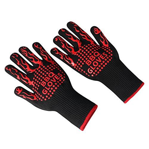 BBQ Gloves HCBY Heat Resistant Oven Mitt for Grilling BBQ Kitchen Golves 1 Pair 2pcsBlack