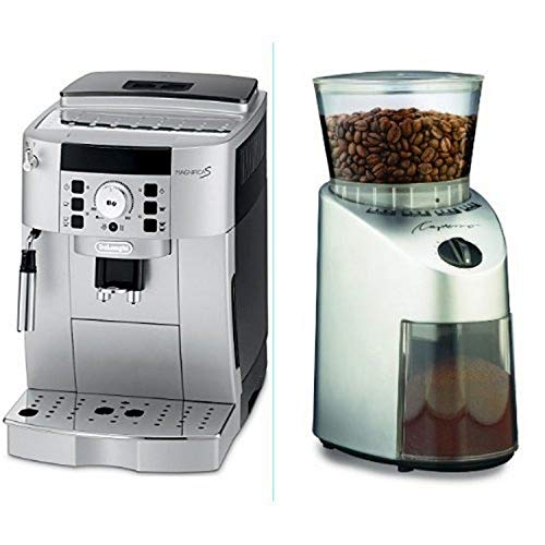 DeLonghi ECAM22110SB Compact Automatic Cappuccino Latte and Espresso Machine and Capresso 560 Infinity Conical Burr Grinder Brushed Silver Bundle