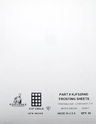 Kopykake KJFS2RND 2 Circle Frosting Sheets 24 sheets per pack 2 print area