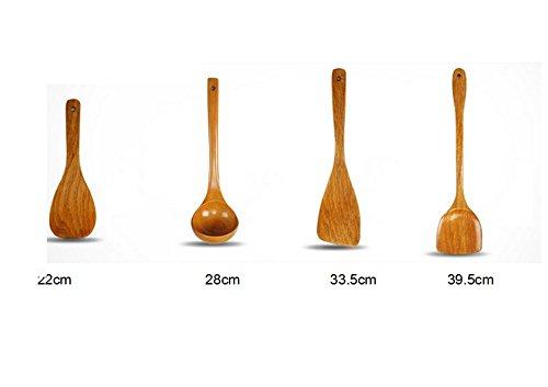 Jhion Premium Organic Kitchen Cooking Utensils Wooden Spoon Spatula Bamboo Kitchen Tools Set of 4 Bamboo Kitchen Tools Set of 4
